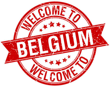 welcome to Belgium red round ribbon stamp Illustration
