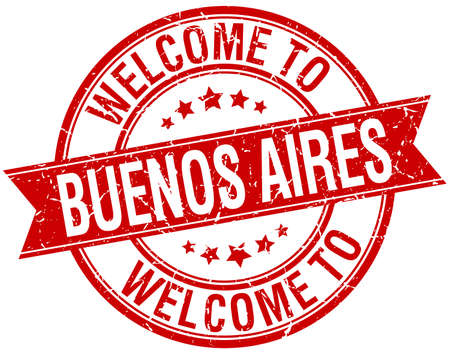 welcome to Buenos Aires red round ribbon stamp Vector