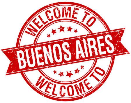 buenos aires: Willkommen in Buenos Aires rot rund ribbon stamp