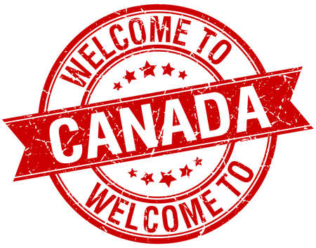 canada stamp: welcome to Canada red round ribbon stamp Illustration