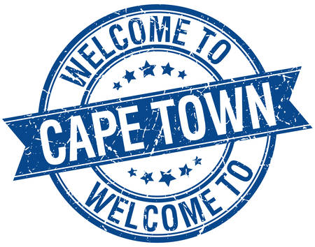 cape town: welcome to Cape Town blue round ribbon stamp Illustration