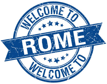 welcome to Rome blue round ribbon stamp