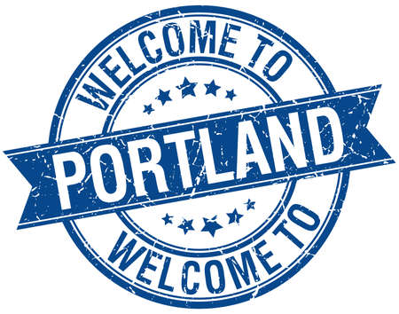 portland: welcome to Portland blue round ribbon stamp Illustration