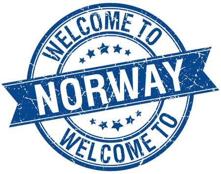 welcome to Norway blue round ribbon stamp Vector