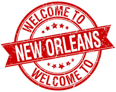 orleans: welcome to New Orleans red round ribbon stamp Illustration