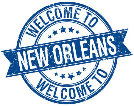 orleans: welcome to New Orleans blue round ribbon stamp Illustration