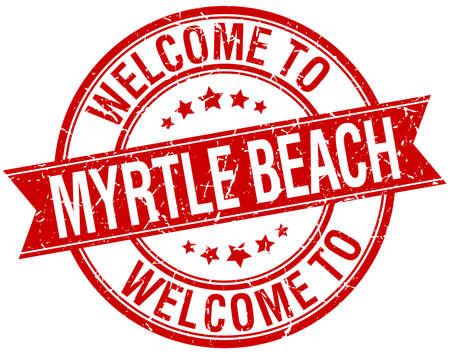 myrtle beach: welcome to Myrtle Beach red round ribbon stamp