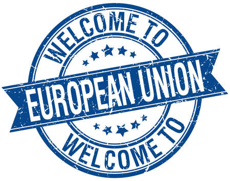 evropský: vítejte na Evropské unii modrou stuhou kulatým razítkem