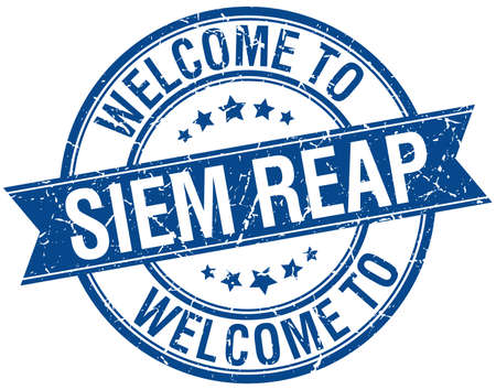 reap: welcome to Siem Reap blue round ribbon stamp