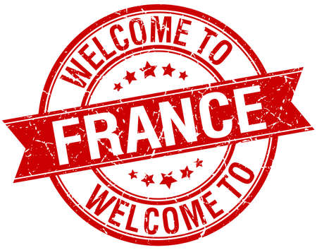 france stamp: welcome to France red round ribbon stamp Illustration