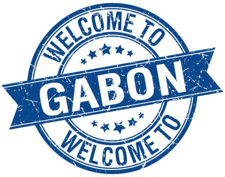 gabon: welcome to Gabon blue round ribbon stamp