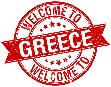 greece stamp: welcome to Greece red round ribbon stamp