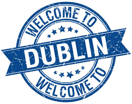 dublin: welcome to Dublin blue round ribbon stamp Illustration