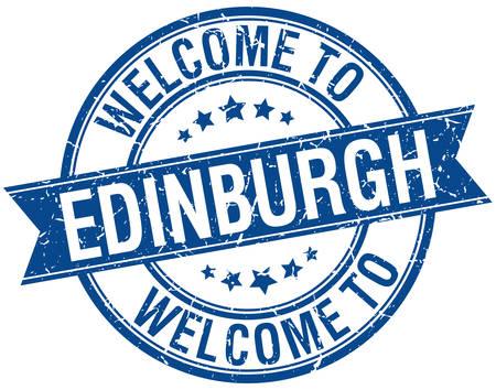 edinburgh: welkom om Edinburgh blauwe ronde lint stempel