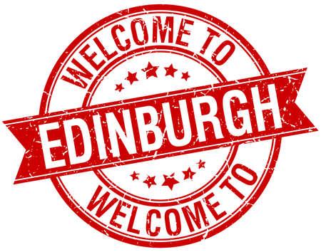 edinburgh: welkom om Edinburgh rood round lint stempel Stock Illustratie
