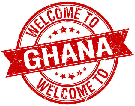 ghana: welcome to Ghana red round ribbon stamp Illustration