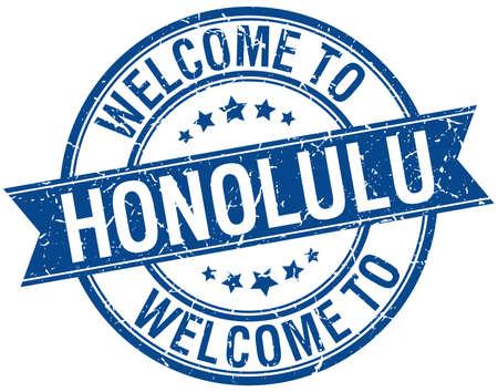 honolulu: welcome to Honolulu blue round ribbon stamp