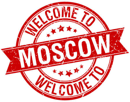 moscow: welcome to Moscow red round ribbon stamp