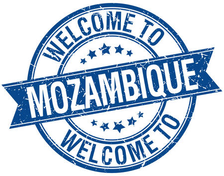 mozambique: welcome to Mozambique blue round ribbon stamp