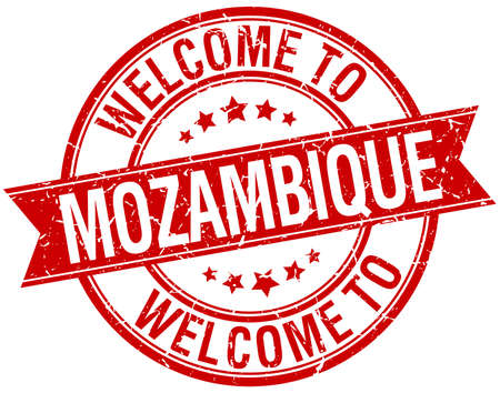 mozambique: welcome to Mozambique red round ribbon stamp