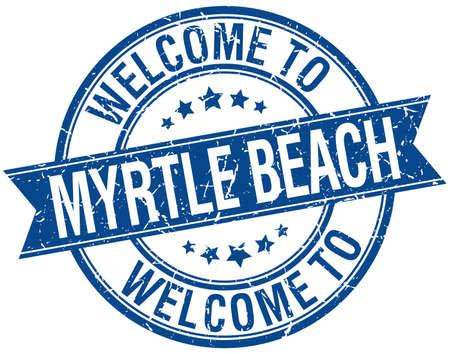 myrtle: welcome to Myrtle Beach blue round ribbon stamp Illustration