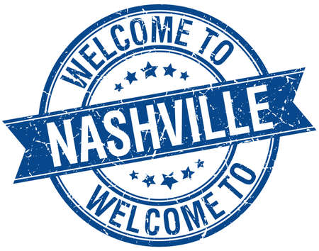 welcome to Nashville blue round ribbon stamp Vector