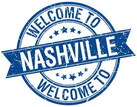 nashville: welcome to Nashville blue round ribbon stamp