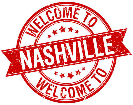 welcome to Nashville red round ribbon stamp Vector