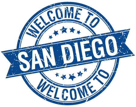 san diego: welcome to San Diego blue round ribbon stamp
