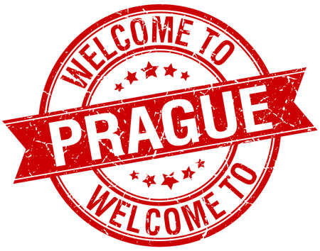 welcome to Prague red round ribbon stamp Vector