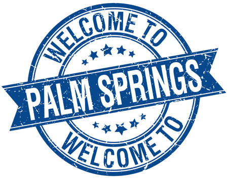 palm springs: welcome to Palm Springs blue round ribbon stamp