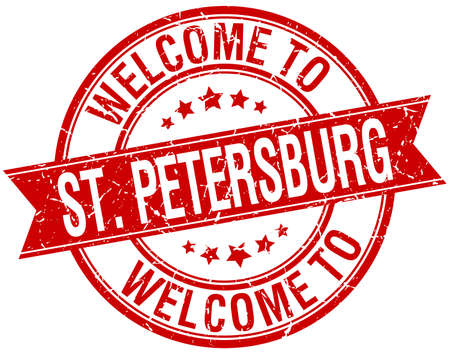 st petersburg: welcome to St. Petersburg red round ribbon stamp Illustration