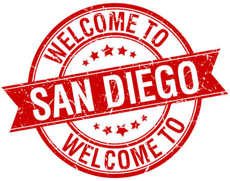 san diego: welcome to San Diego red round ribbon stamp