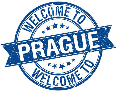 welcome to Prague blue round ribbon stamp Vector