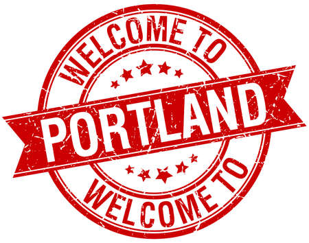 welcome to Portland red round ribbon stamp Vector