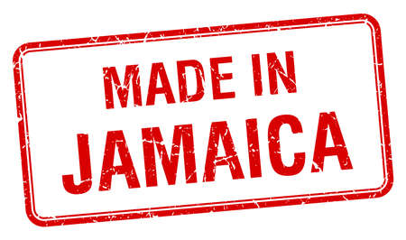 made in Jamaica red square isolated stamp Vector