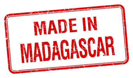madagascar: made in Madagascar red square isolated stamp