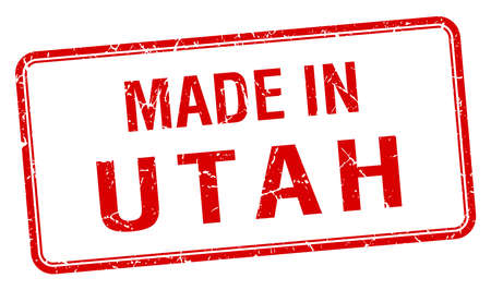 utah: made in Utah red square isolated stamp