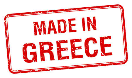 made in Greece red square isolated stamp Illustration