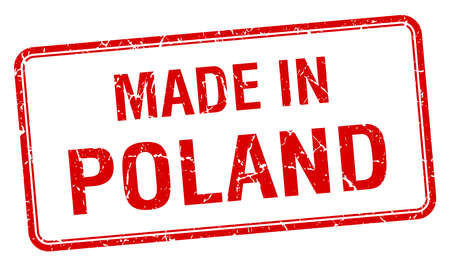 made in Poland red square isolated stamp Vector