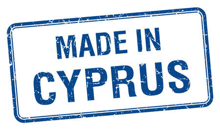made in Cyprus blue square isolated stamp Vector