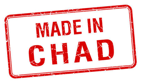 chad: made in Chad red square isolated stamp