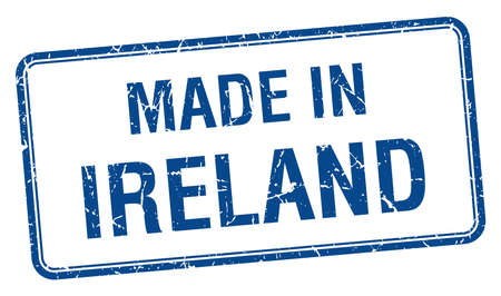 made in: made in Ireland blue square isolated stamp Illustration