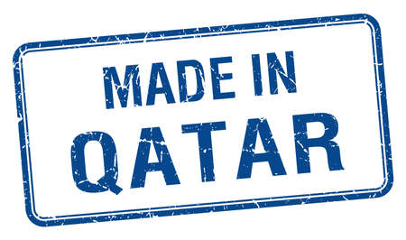 qatar: made in Qatar blue square isolated stamp