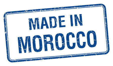 made in morocco: made in Morocco blue square isolated stamp Illustration