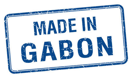 gabon: made in Gabon blue square isolated stamp