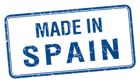 made in spain: made in Spain blue square isolated stamp