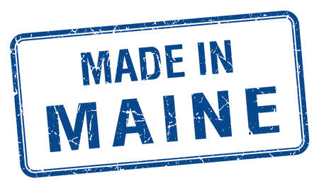 maine: made in Maine blue square isolated stamp Illustration