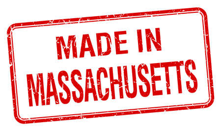 massachusetts: made in Massachusetts red square isolated stamp