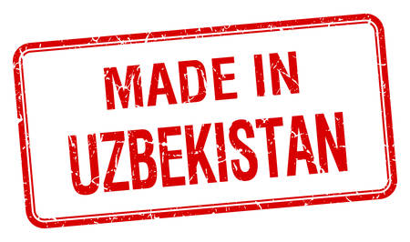oezbekistan: made in Uzbekistan red square isolated stamp